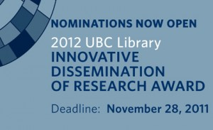Innovative dissemination research award deadline: Nov. 28, 2011